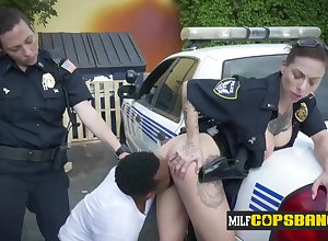 Breasty tattoed Womanlike Cops acquire drilled
