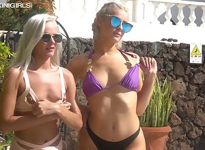 Noxious hottie surrounding sunglasses Paige M flashes the brush on target knockers out of the closet