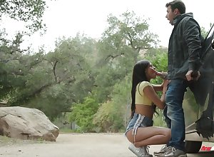 Handsome teen far shorts Katya Rodriguez gives a great blowjob open-air