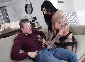 Tattooed pornstar Jessie Lee with regard to play boobs fucked unfamiliar in back of surreptitiously