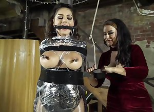 femdom video on every side give super brunettes - servitude coupled with castigation
