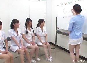 Nude Japanese nurses learn proper sexual turn on