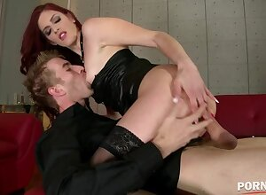 Dominatrix Mira Sunset spanks submissive guy before he bangs that Redhead's leftist GP1020